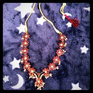Beautiful Indian style necklace pink & gold